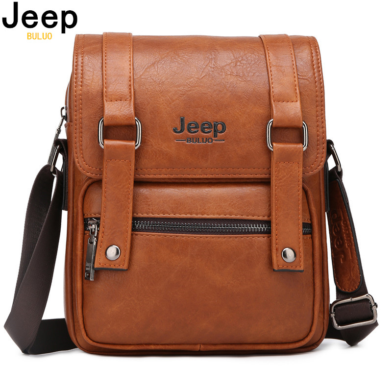 JEEP BULUO Men Messenger Bags New Mans Crossbody Shoulder Bag Large Capacity Leather Travel Tote For 9.7 IPAD Multi-functionJEEP BULUO Men Messenger Bags New Mans Crossbody Shoulder Bag Large Capacity Leather Travel Tote For 9.7 IPAD Multi-function