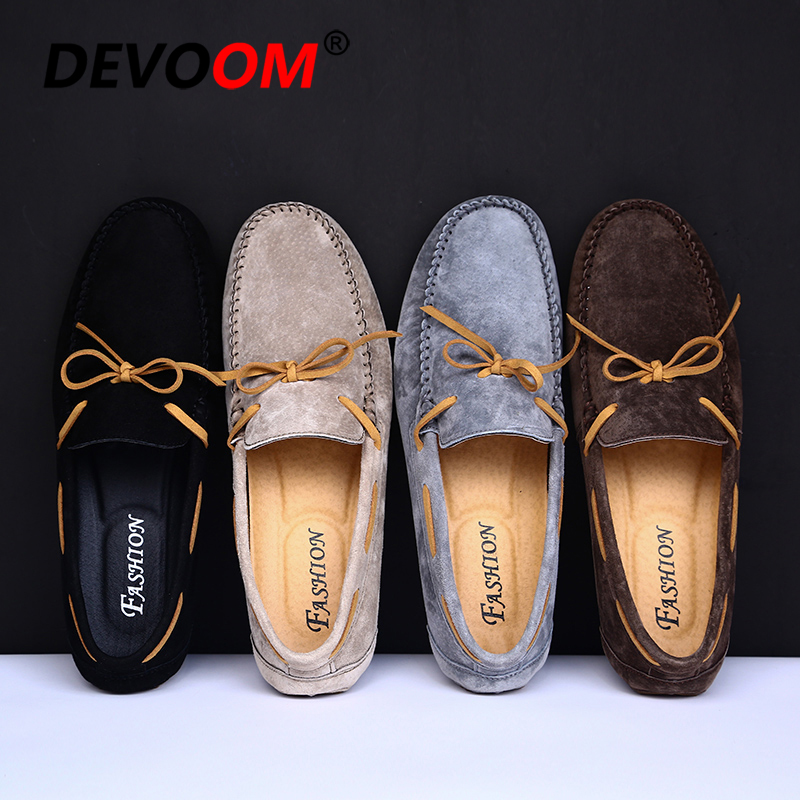 Summer Mocasin Genuine Leather Mens Driving Shoes Slip on Retro Loafers Bow Leather Shoes lace Bowtie Upper Suede Leather Casual 2