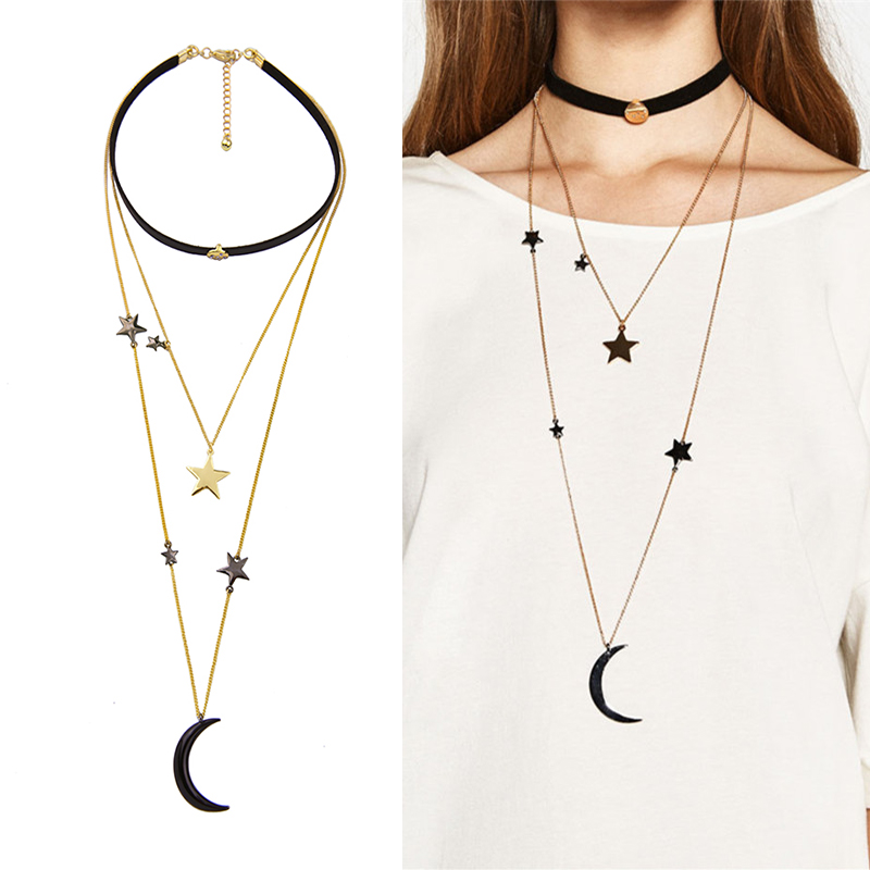 Black Velvet Choker Halsband för kvinnor Tre lager Metal Stars Moon Pendant Necklace Fashion Jewlery