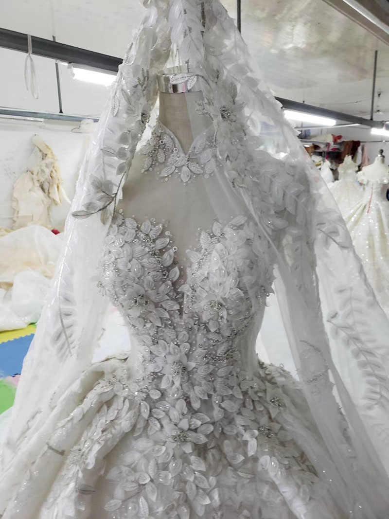 HTL358 מוסלמי שמלות כלה עם חתונה גבוהה צוואר ארוך שרוולי כמו לבן שמלת כלה עם נתיק רכבת מפעל מציאות