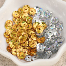 6mm 10g/lot Gold / Silver laser Flake Rainbow Cup Sequin Flat Loose Paillette Sewing Garment Dress DIY Decoration(China)