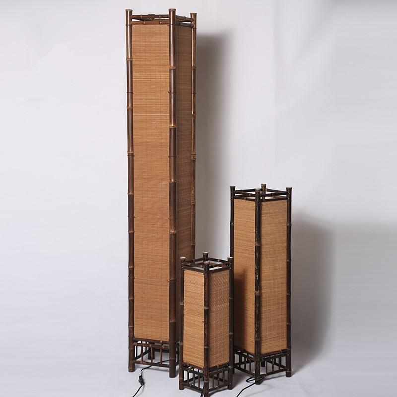 Vintage Håndværk Bambus Gulvlampe Japan Stil Bambus Lysarmaturer - Indendørs belysning - Foto 2