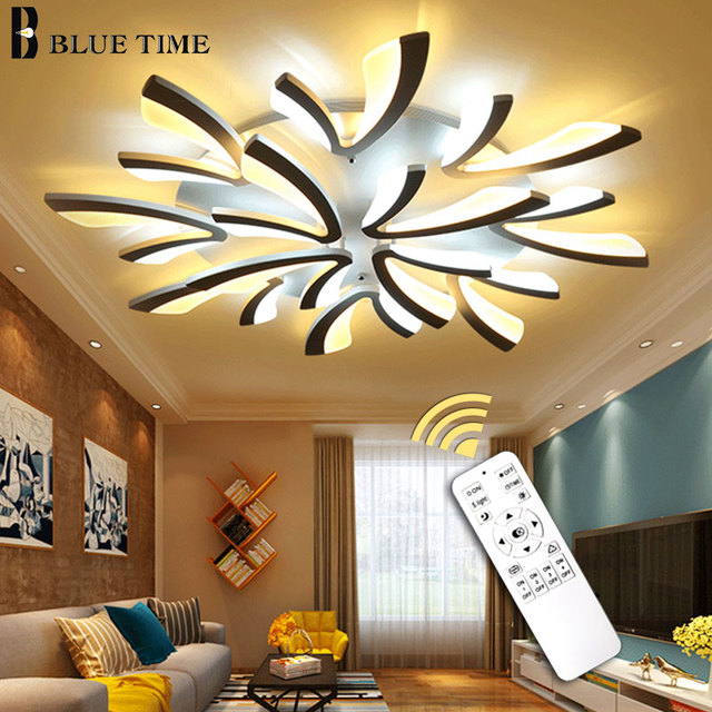 Candelabro Led moderno para sala de estar dormitorio comedor techo montado  lámpara LED iluminación negro y blanco accesorios