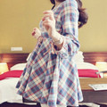 2015 autumn plaid top one-piece dress gentlewomen fashion maternity clothing autumn and winter