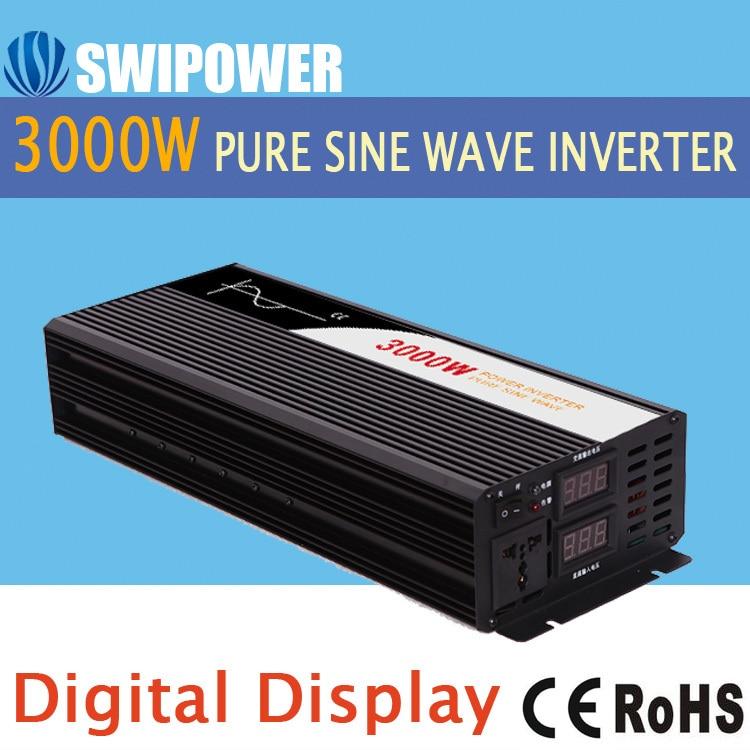 Чистая синусоида Инвертор 3000 Вт Новые DC 12 В 24 В 48 В до 110 В 220 В автомобильный преобразователь солнечной энергии