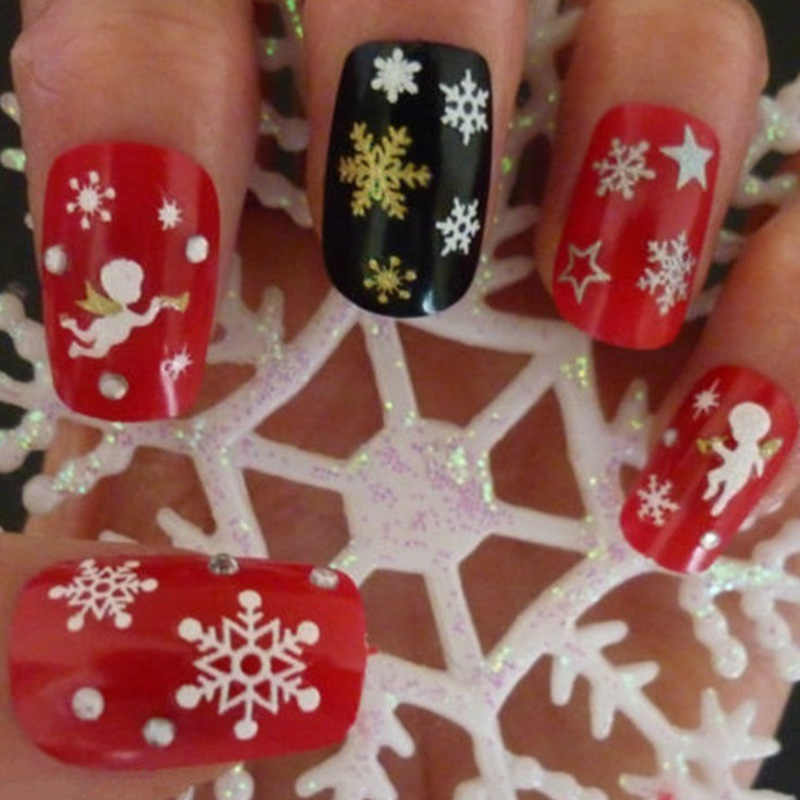 Hot sale Christmas Nail Art Water Transfer Decals Snowflakes Nail Sticker Decals Nails Art Decoration Sticker