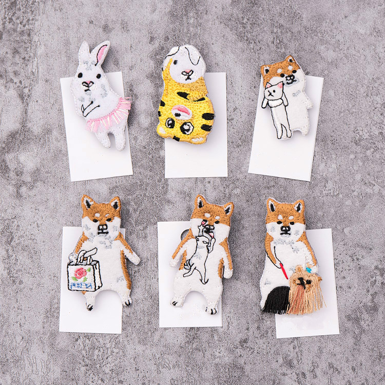 5pcs/lot Japanese Style Cartoon Animals Brooches Rabbit Dog Embroidery Pin For Kids Lapel Pin Hat/bag Pins Women Badge Q1181 Supplement The Vital Energy And Nourish Yin