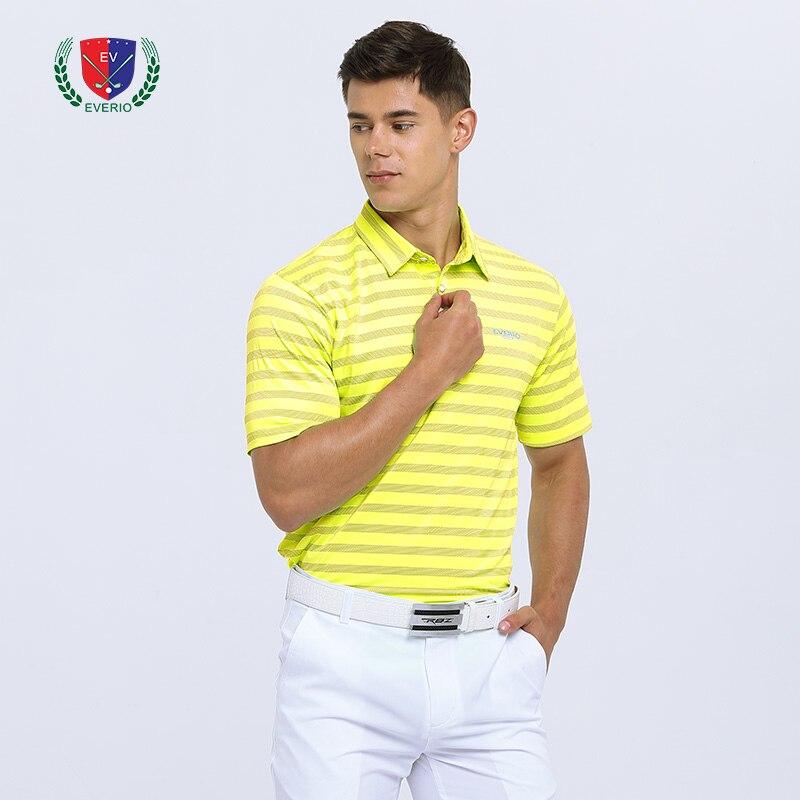 Summer mens golf shirt burn hole golf POLO shirt quick-drying breathable wicking sports short-sleeved stripe T-shirt Sportswear