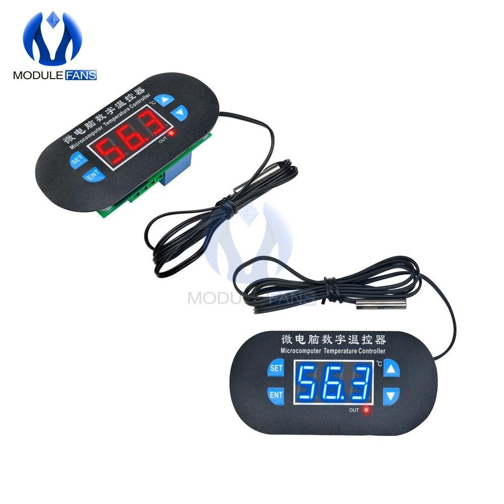 DC//AC 12V//220V Red//Blue LED Heat Cool Thermostat Temperature Controller Sensor