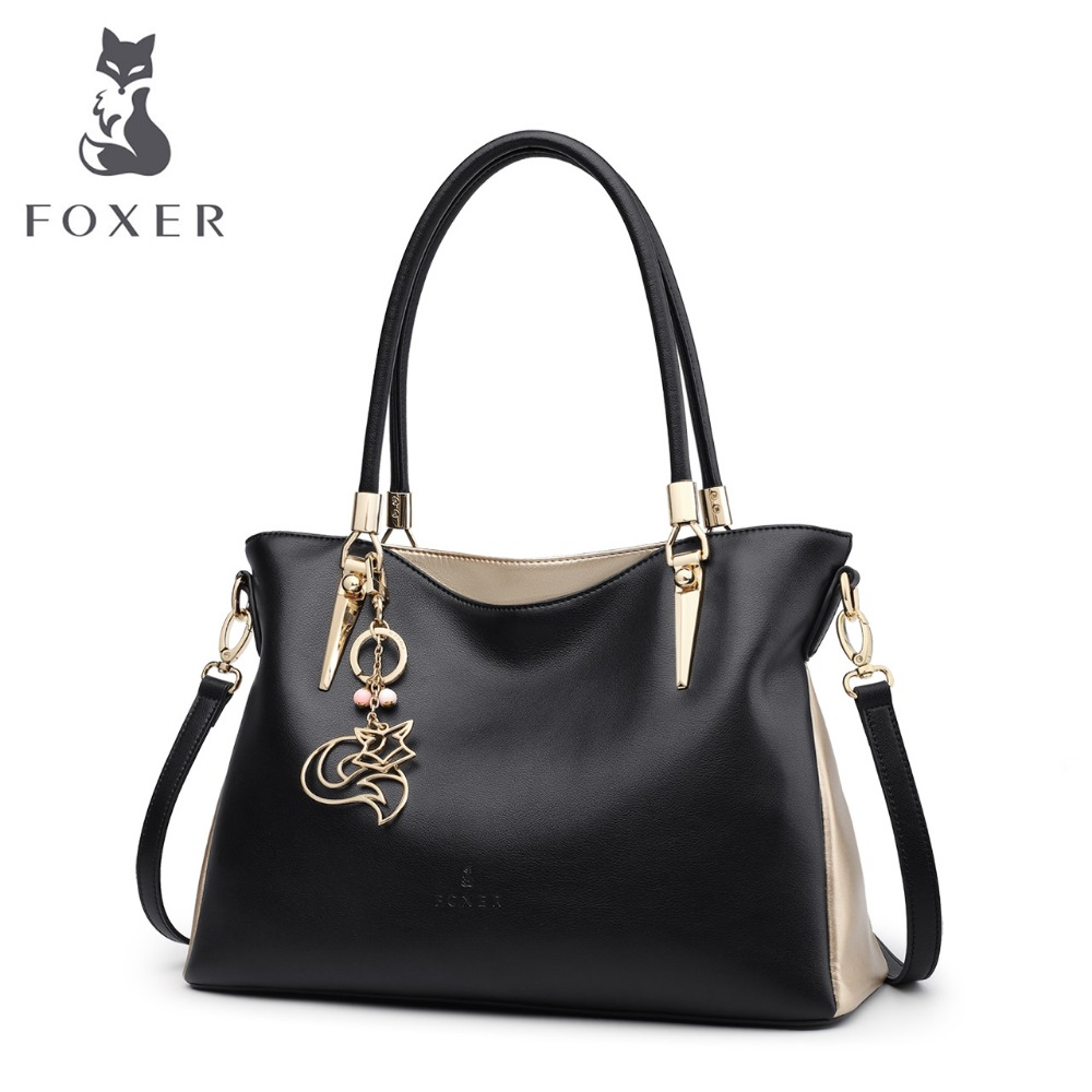 FOXER Brand Cowhide Leather Women Handbag & Shoulder bag Female Fashion Handbags Lady Totes Women's Crossbody Bags spring new elegant leather women handbag smooth skin lady shoulder bags female small casual totes cover zipper crossbody packs