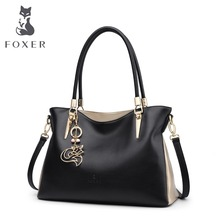 hot deal buy foxer brand cowhide leather women handbag & shoulder bag female fashion handbags lady totes women's crossbody bags