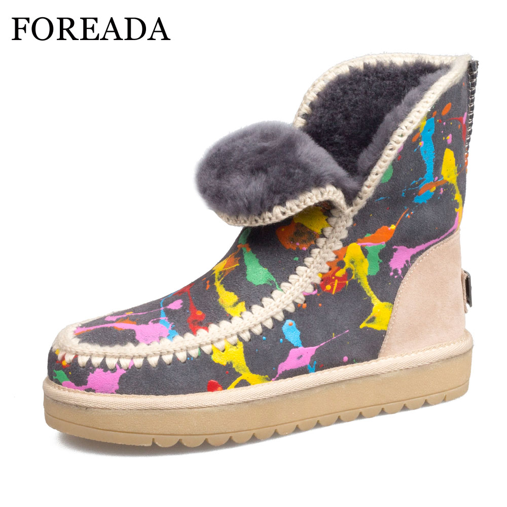 FOREADA Genuine Leather Snow Boots Women Real Fur Winter Ankle Boots Wool Suede Boots Graffiti Platform Wedge Heel Shoes 34-43 nayiduyun women genuine leather wedge high heel pumps platform creepers round toe slip on casual shoes boots wedge sneakers