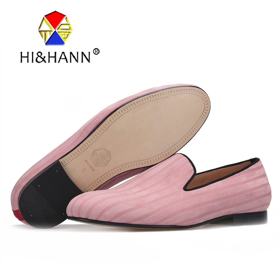2017 new arrival Pink color men velvet shoes with Striped design men Classic loafers British style Casual smoking slippers simple men s casual shoes with criss cross and color block design