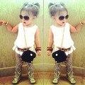 2015 new arrival meninas do verão define t-shirt + calças + Belt ternos de leopardo chiffon vestido de terno calças cinto arco Crianças Frete Grátis