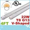 V-Shaped Cooler Door Led Tube Lights 4FT T8 G13 22W Dual Row SMD 2835 Led Tubes For refrigerator Lights Warm/Cool White AC