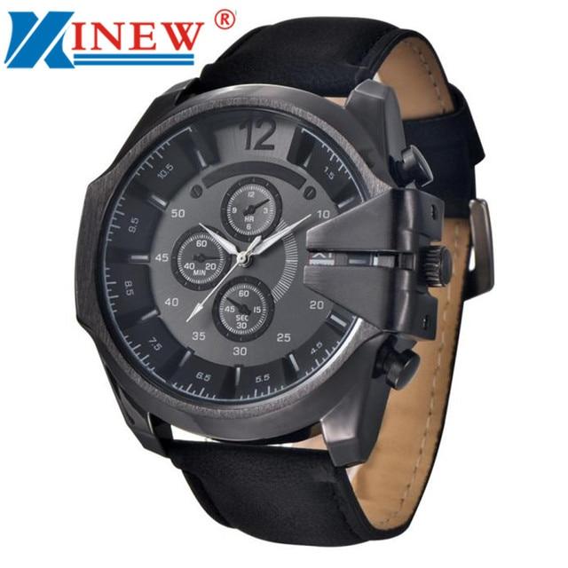 a23916db075 top brand Watch Men Black Watches Vintage Brown Mens Analog Steel Case Date  Leather Brand Sport