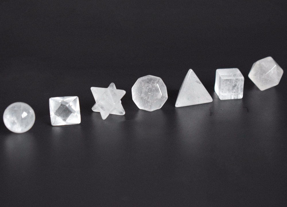 Natural Chakra Clear Quartz Carved Crystal Healing Platonic