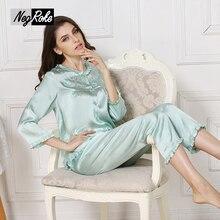 New design spring 100% silk womens pajama sets solid color best sexy women sleepwear ladies pyjamas silk home cloth lingerie