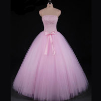 XINGFUYANG Beaded Upper Satin Belt Wedding Dresses Basque Waistline Strapless Neck Robe De Mariage Light Pink