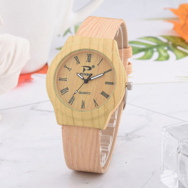 Men Women Wood Pattern Quartz Watch PU Leather Wristwatch Student Sport Casual Watches Unisex TT@88
