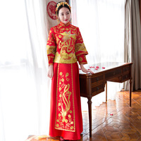 2018 Fashion Red Cheongsam Long Qipao Wedding Dress Chinese Traditional Dresses China Clothing Store Summer Women Sexy Flowers