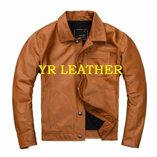 YR!Free shipping.Pakistan tanning sheepskin,brand casual style leather jacket,fashion US genuine leather coat,plus size jacket
