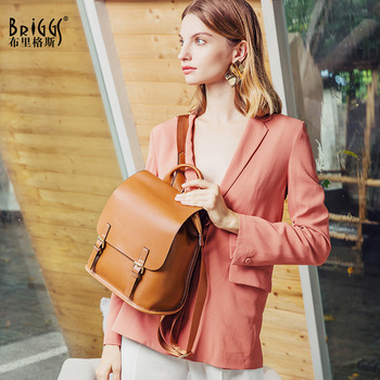 BRIGGS Genuine Leather Backpacks For Women Travel Waterproof Bag Backpack Female Zipper Design School Bag Back Pack Preppy Style