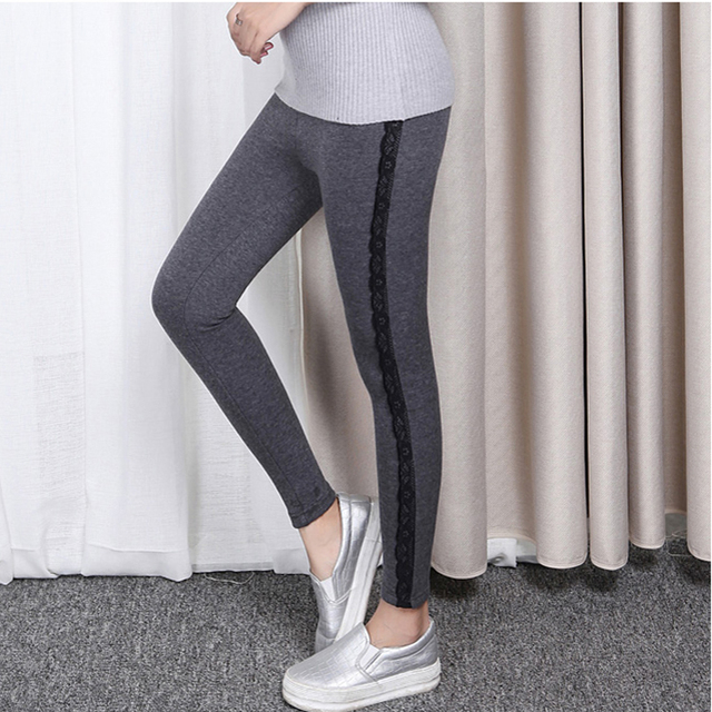 new arrived Spring Leggings woman Slim Fashion  Elasticity all-matching High waist Pencil pants Patchwork Lace trousers  3XL-6XL