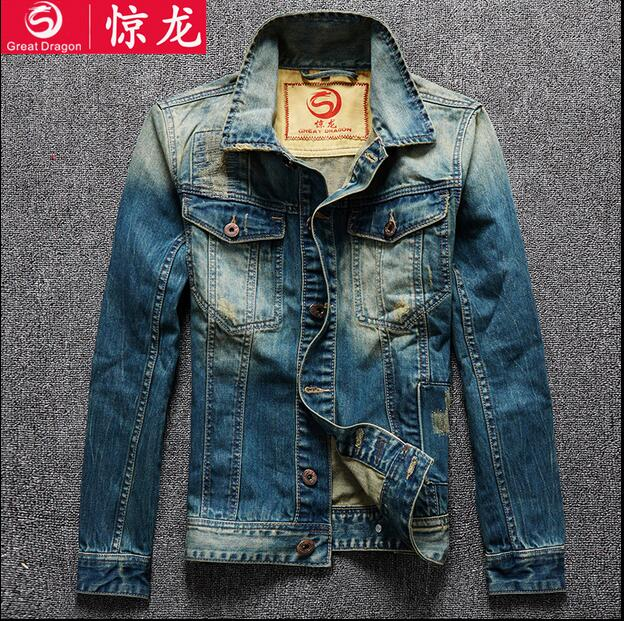 2016 new hot spring autumn Men Jeans Jacket Overcoat Parkas coat Motorcycle Retro short plus size 4XXXXL cotton Holes fashion