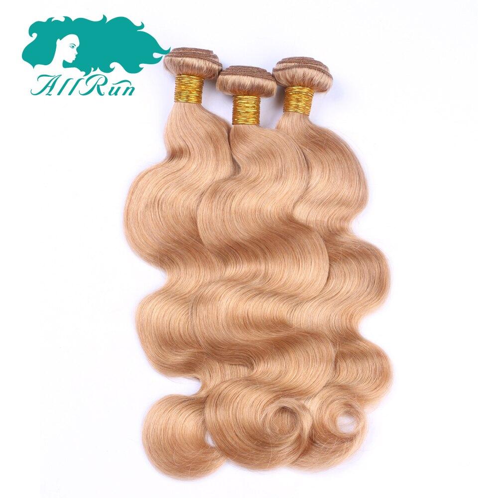 Allrun 27 # блондинка boundles индийский Средства ухода за кожей волна волос 4 шт./лот Средства ухода за кожей волны пучки ткет расширения 100% Человече...