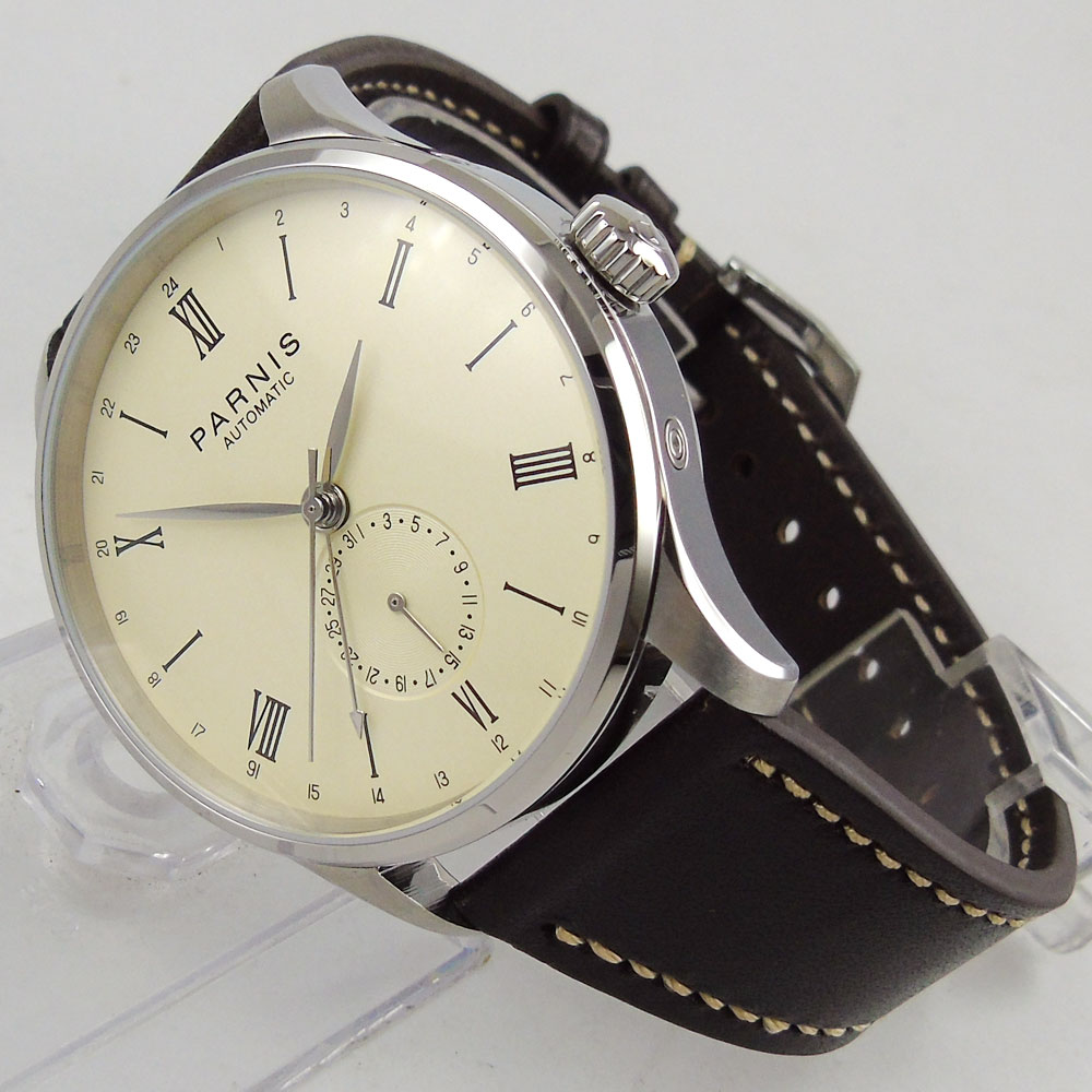 42mm Parnis 0ff- White dial stainless steel Case Complete Calendar ST 1690 Automatic movement Men's Watch цены