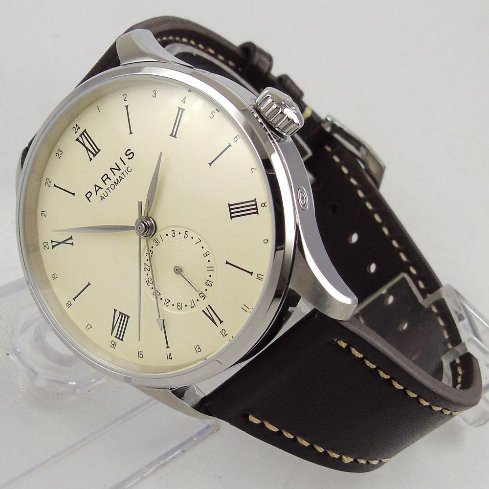 Здесь продается  42mm Parnis 0ff- White dial stainless steel Case Complete Calendar Sea gull Automatic movement Men