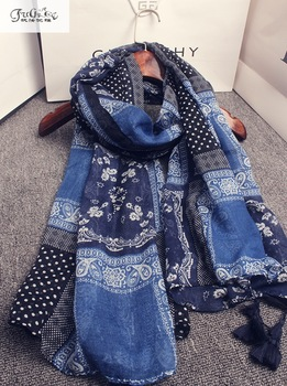 Spring and summer new scarf, retro scarf, blue tassel scarf sunscreen, cashews scarf shawl mantillas