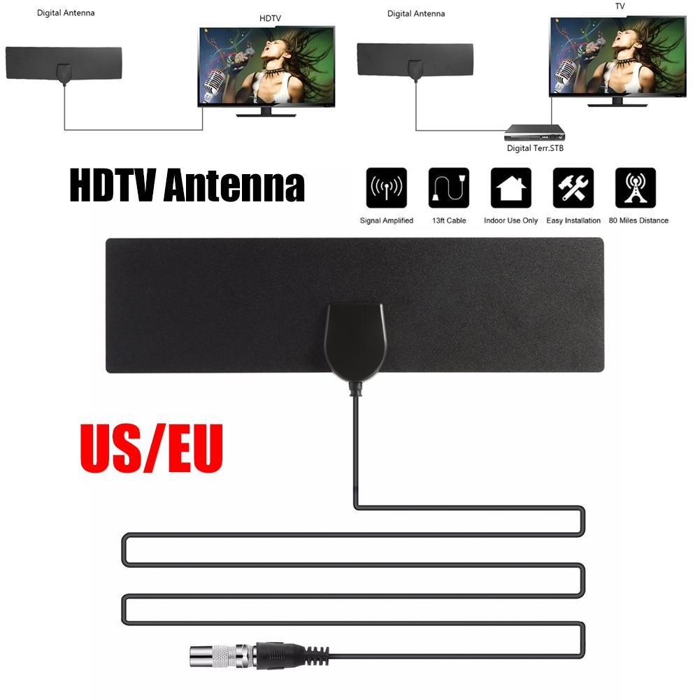 NEW Flat Indoor HD Signal Amplifier Digital TV Antenna HDTV 50 Miles Range VHF UHF HDTV Antenna TV Signal Receiver US Plug cw 189 hd ground tv receiver antenna white