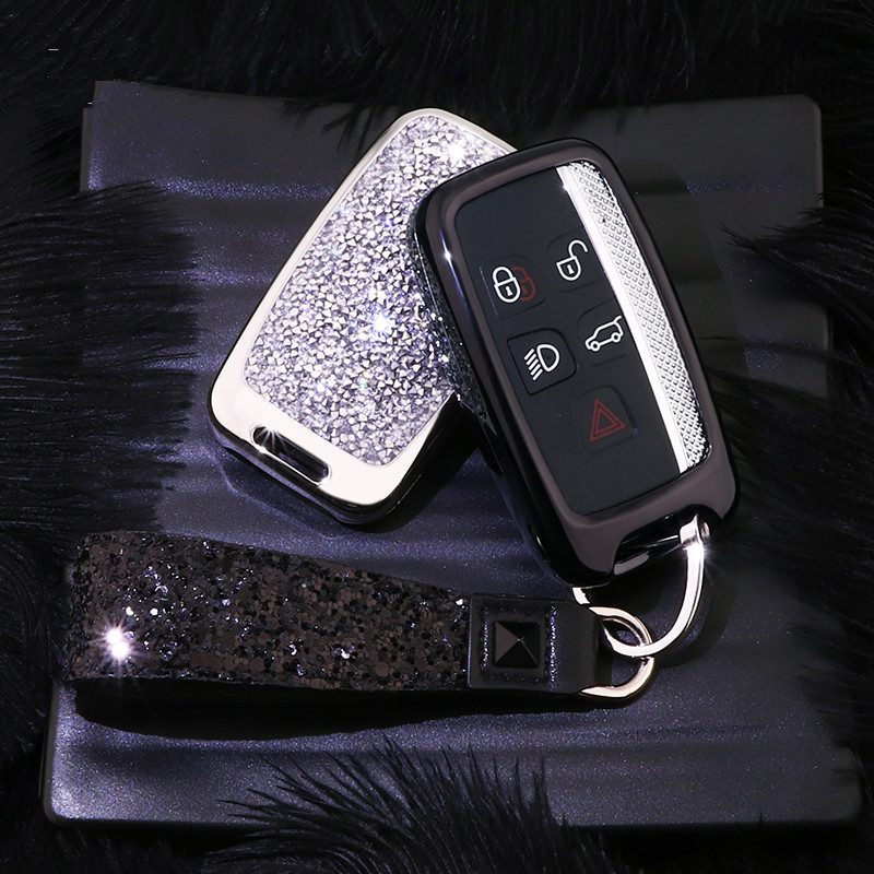 Image 2 - Artificial Crystal key case cover Key case protect shell holder For Land Rover A9 Range Rover Sport Evoque Freelander 2 Jaguar-in Key Case for Car from Automobiles & Motorcycles