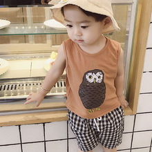 YHCQ childrens suit summer two-piece cute cartoon printed cotton for boys and girls baby kids