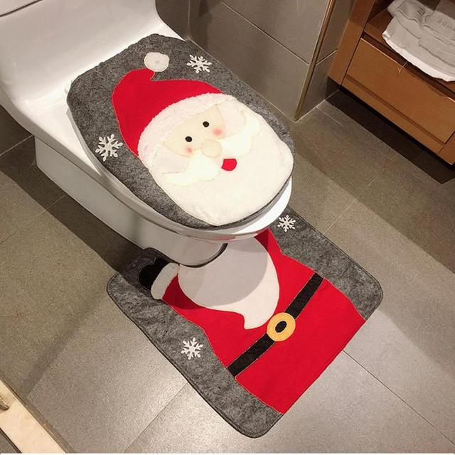 Toilet Foot Pad Seat Cover Cap Christmas Decorations Happy Santa Toilet Seat Cover and Rug Bathroom Accessory Santa Claus 1 Set