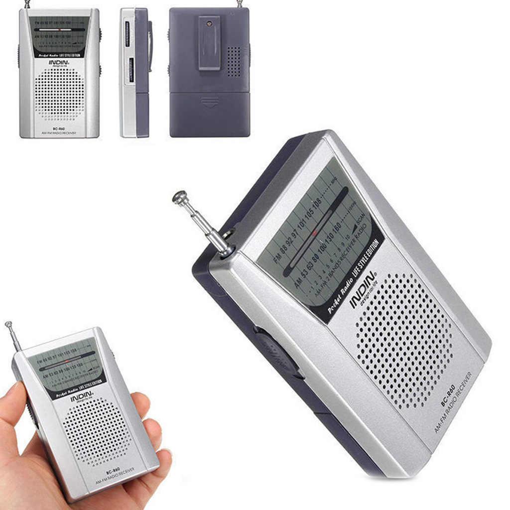 Mini portátil de bolsillo AM FM Radio altavoz antena telescópica 3,5mm Jack calidad de sonido Superior