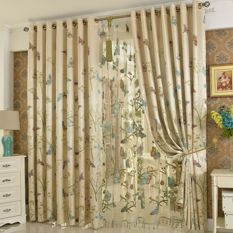 Embroidery Butterfly Luxury European style Jacquard Window Shading 90 Blackout Curtains2015 New Arrival