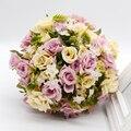 Ramo de la boda De Mariage 2017 Romántica Boda de dama de Honor Rosa Flores Artificiales de Seda de Flores de Novia Ramos de Novia