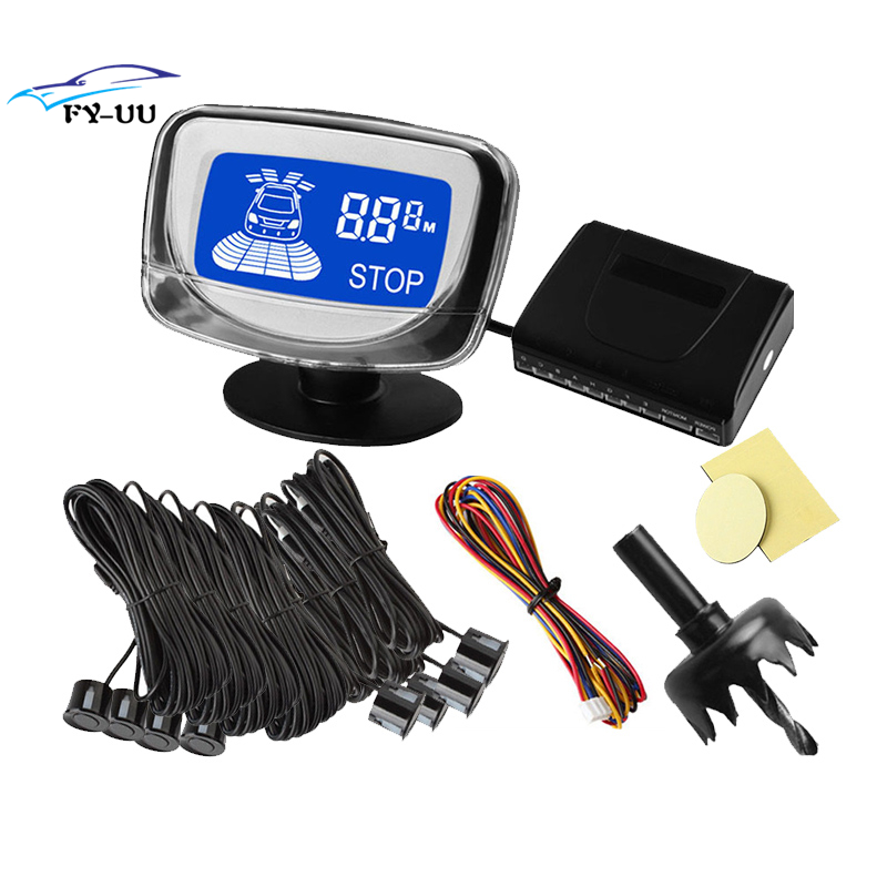 Black Color Rear and Front View Car Parking Sensors with LCD Display Monitor Waterproof FreeShipping