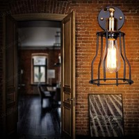 Continental Bar Restaurant Cafe Artistic Personality Designer Style Bedside Antique Iron Shelf Wall Lamp