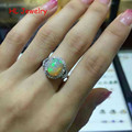 Natural Fire Opal 8x10mm Oval 925 Sterling Silver Lady Rings