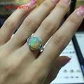 Natural Opal de fogo 8 x 10 mm Oval 925 prata anéis de senhora
