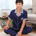 Masculino seda sleepwear falso verão de seda de manga curta cor sólida sleepwear masculino salão de verão