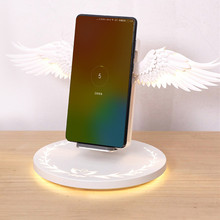 10W Angle Wings Wireless Charger Table Lamp Light Inductive Charging For Iphone xr Xiomi Without Wire Fast Chargeur Induction