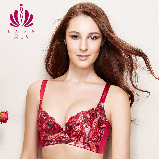 64cb37a9a9 Brahmin Chinese Wine Red Bra Genuine Deep V Lingerie Embroidery Sexy  Adjustment Type Side Strappy Thin Cup C D E Lace Bralette