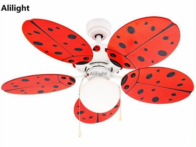 Cute red ladybug ceiling fans with light children room ceiling fan cute red ladybug ceiling fans with light children room ceiling fan lamp decorative suspension nursery school aloadofball Gallery
