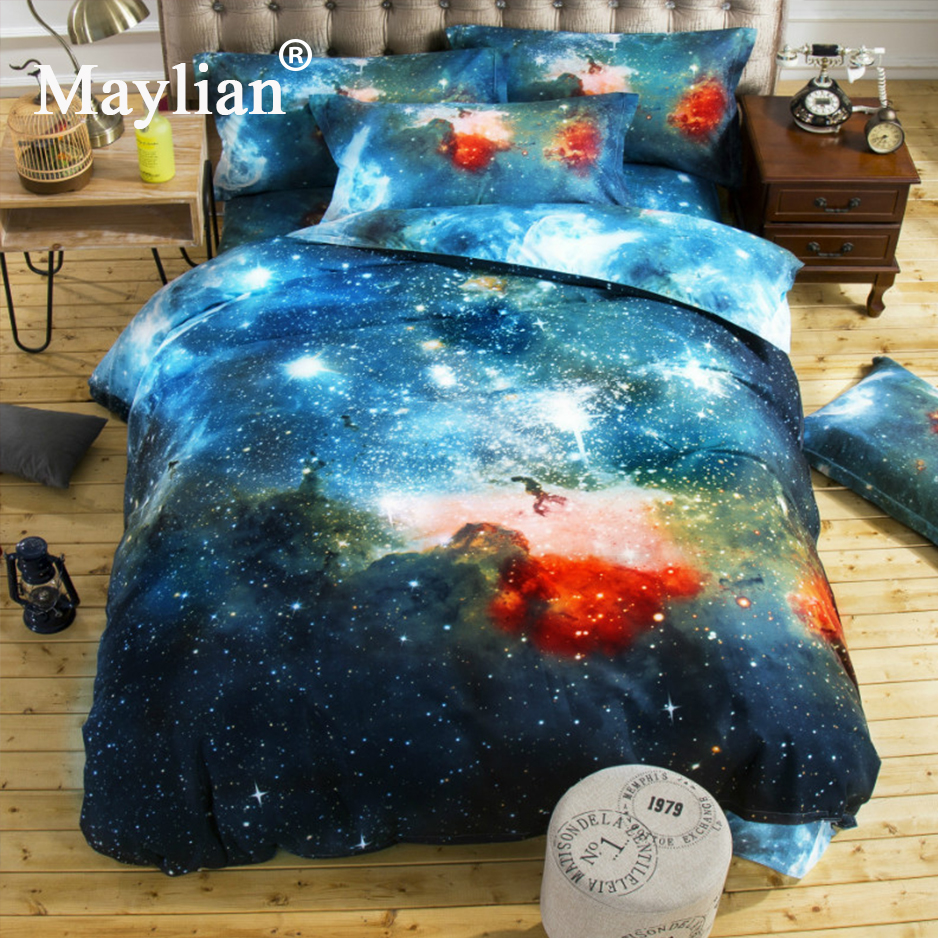 Bed in a Galaxy Starry Cloud 3D Bedding Set Kids Home Textiles Twin Full Queen King Nebula Printed Soft Bed Set Bedroom BE1076 ...
