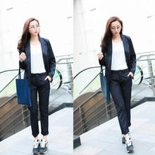 Plus Size 2016 New Fashion Slim Business Wear Elegant Women Office OL Jacket Set Formal Blazer + Pants Suit Feminino Female